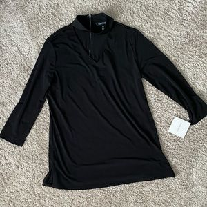 Ellen Tracey Long Sleeve Black Shirt with Chocker